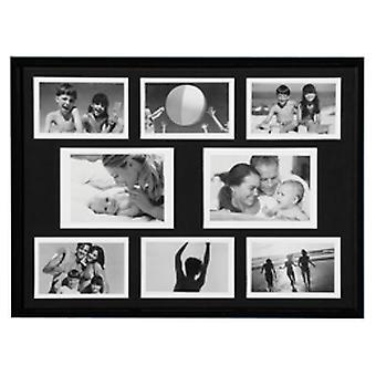 Collage - vægmonteret Photo Frame - med otte åbninger - sort