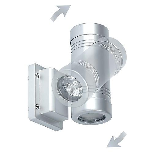 Saxby GD-710 Gigo IP55 5w 2 Light Outdoor Wall In Aluminium & clear glass