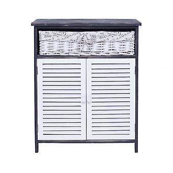 REBECCA meuble armoire placard 1 panier 2 portes bois en osier blanc gris rustique salle de bain cuisine
