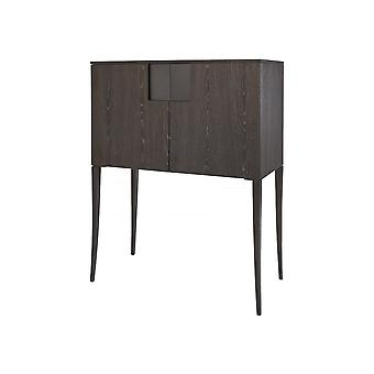 Gillmore Space Tall Sideboard In Dark Charcoal Wood With Gun Metal Legs