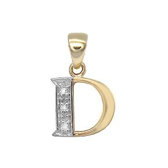 Jewelco London 9ct Yellow Gold Pave Set Round H I2 0.02ct Diamond Identity Dainty Initial ID Charm Pendant Letter D