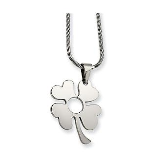 Stainless Steel Polished Fancy Lobster Closure Four Leaf Clover Pendant Necklace - Length: 18 to 22