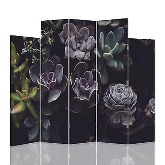 Decorative Room Divider, 5 Panels, Double-Sided, 360 ° Rotatable Canvas, Cactus Garden 2