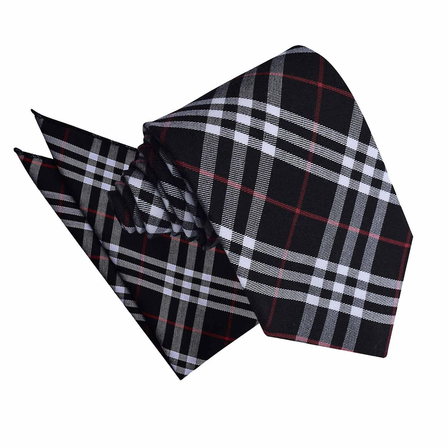 Black & White with Red Tartan Tie 2 pc. Set