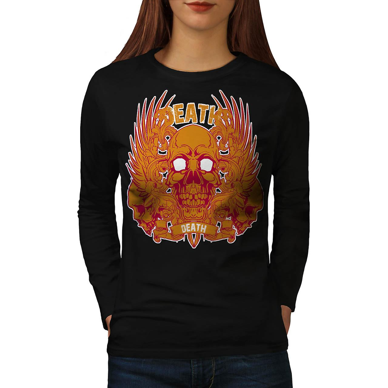 Monster Death Skull Flame Head Women Black Long Sleeve T-shirt | Wellcoda
