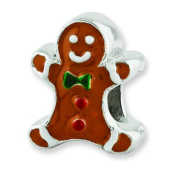 Sterling Silver Reflections Enameled Gingerbread Man Bead Charm
