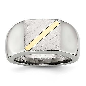 Stainless Steel Brushed Polished With 14k Gold Stripe Signet Ring - Ring Size: 9 to 11