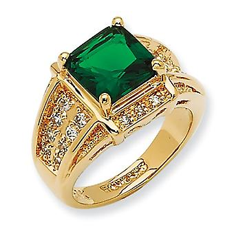Gold-plated Crystal Green Princess-cut Ring - Ring Size: 6 to 8
