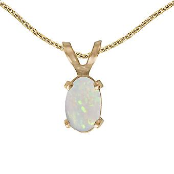 14k Yellow Gold Oval Opal Pendant with 18