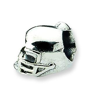 Sterling Silver Polished Antique finish Reflections Football Helmet Bead Charm