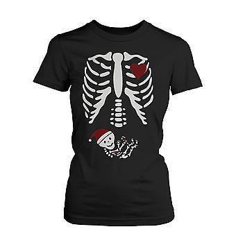 Christmas Pregnant Skeleton Santa Baby X-Ray Shirt Maternity Themed Funny Shirt