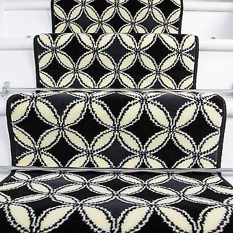 80cm Width - Contemporary Black Geometric Stair Carpet