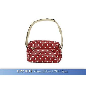 Dotty Vintage Shoulder Bag Red made from Oilcloth