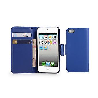 Book Leather Case Cover + stylus for Apple iPhone 5 5S SE - Deep Blue