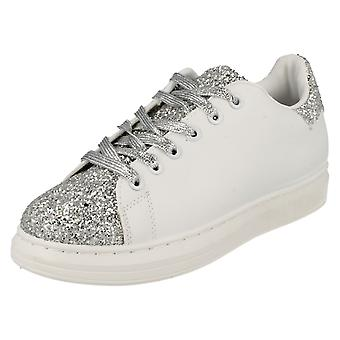 Ladies Spot On Lace Up Trainer Pump with Glitter F80191
