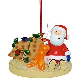 Santa with Hermit Crab at Beach Christmas Holiday Ornament