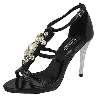 Dames plek op hakken sandaal met juweel bloem Upper