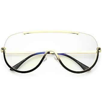 Oversize Semi Rimless Shield Eyeglasses Metal Trim Clear Mono Lens 65mm