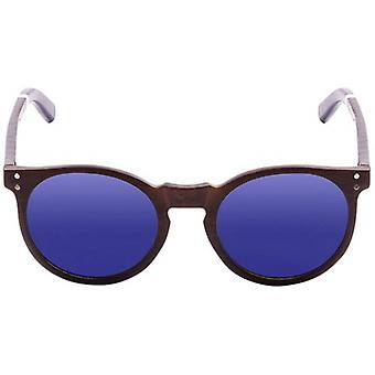 Ocean Lizard Wood Sunglasses - Natural/Dark Natural/Revo Blue