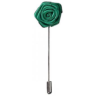 Bassin and Brown Rose Flower Lapel Pin - Green