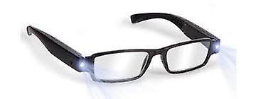 Boolavard® TM Black LED Reading Glasses-presbyopic glasses with LED light Power/Diopter; +1.5