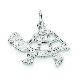 Sterlingsilber solide polierte Rückenausschnitt strukturierte Rückseite Schildkröte Charme -.8 Gramm