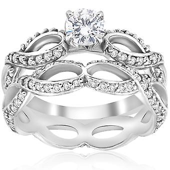 1 1/2ct Diamond Infinity Eternity Engagement Wedding Ring Set 14k White Gold