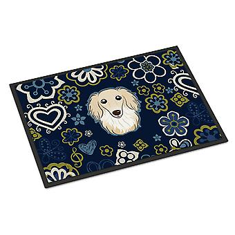 Blue Flowers Longhair Creme Dachshund Indoor or Outdoor Mat 18x27
