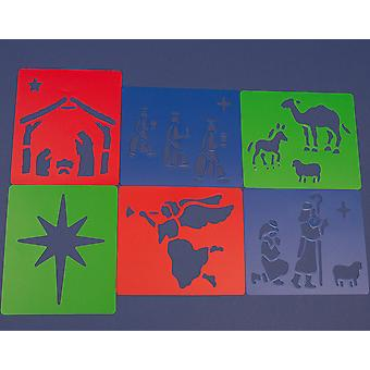 6 plastic Christian Fødselskirken Stencils for Kids Christmas Crafts