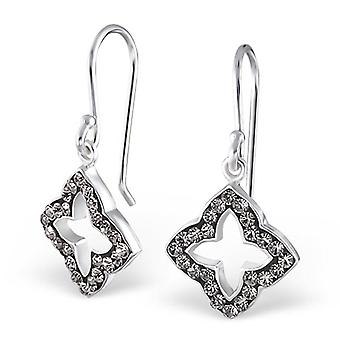 Flower - 925 Sterling Silver Crystal Earrings - W18995x