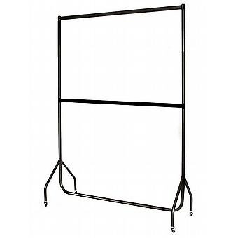 5' All Black Extended Garment Rail, Extension Pieces and Centre Rail