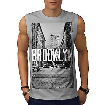 Brooklyn urbani strada uomini GreySleeveless t-shirt | Wellcoda