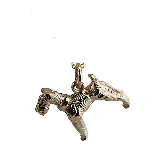 9ct Gold solid Airedale terrier Pendant or Charm