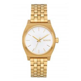 Nixon o contador de tempo médio todo ouro / branco (A1130-504)