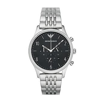 Emporio Armani Mens Chronograph Watch Stainless Steel Strap Black Dial AR1863