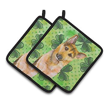 German Shepherd #2 St Patrick's Pair of Pot Holders