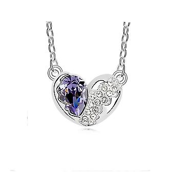 Womens Love Heart Silver Purple Crystal Pendant Necklace