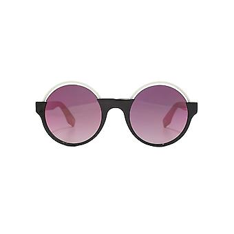 Marc Jacobs Metal Brow Round Sunglasses In Black Pink Mirror