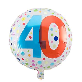 Foil balloon birthday number 40 rainbow dots about 45 cm
