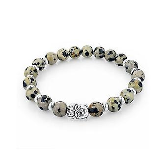 Bracelet Stretch in natural beige and silver Buddha head stones