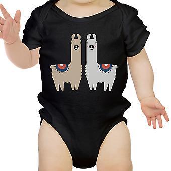Lama Muster Infant Bodysuit Geschenk schwarz