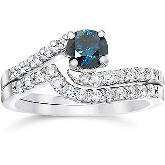 3/4ct Blue & White Diamond Engagement Wedding Ring Set 14K White Gold