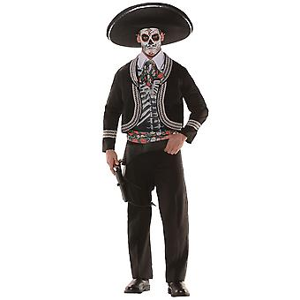 Day Of The Dead Sombrero El Senor Mexican Spanish Skeleton Men Costume One Size