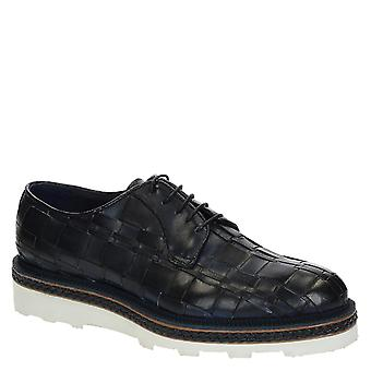 Blue woven leather derby shoes for men
