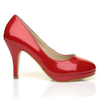 CHIP Red Patent Leather Pumps Mid-High Heel Low Platform Office Court Shoes