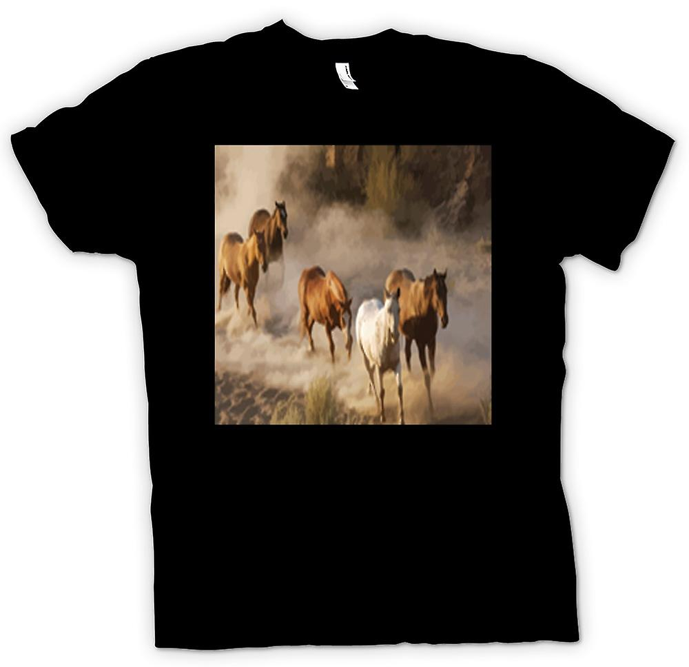 Kids T-shirt - Stampeding Horses Prairie Design