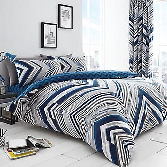 Austin Striped 4Pc Duvet Cover with fitted sheet Polycotton Printed Bedding Set