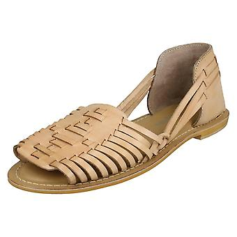 Ladies Leather Collection Flat Weave Sandals F00145 - Natural Leather - UK Size 5 - EU Size 38 - US Size 7