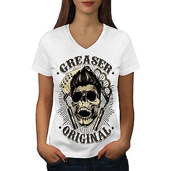 Schmierer Schädel Lächeln Frauen WhiteV-Neck T-shirt   Wellcoda
