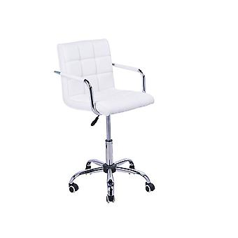 HOMCOM PU Leather Height Adjustable Office Computer Chair 360 Degree Swivel Chair with Chrome Base and Castor Wheels Bar Kitchen Stool with Arms (White)